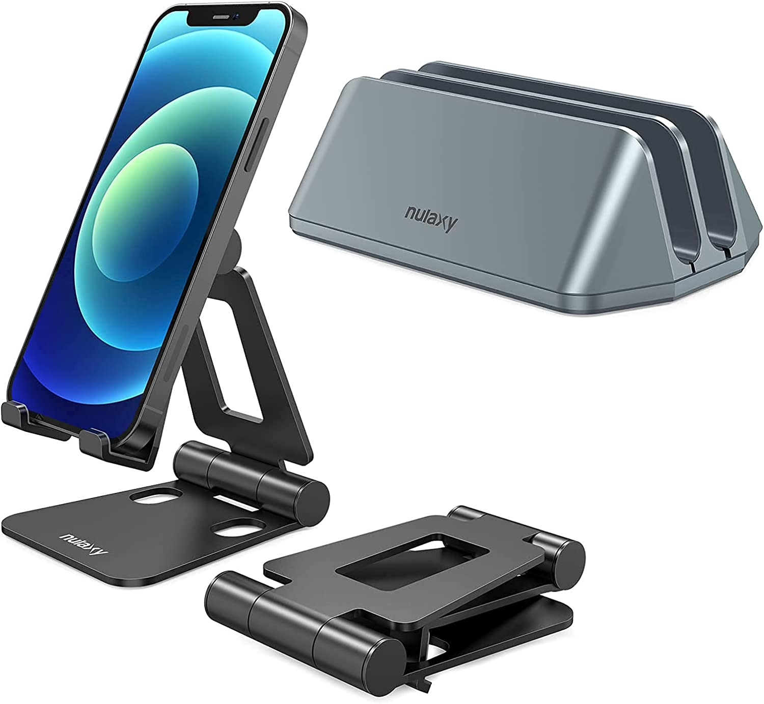 Nulaxy A4 Phone Stand & Nulaxy Vertical Laptop Stand Bundle,Space Saving Desktop MacBook Vertical Stand with Double Adjustable Docks