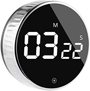 Kitchen Digital Timer, VOLUEX Egg Timer Magnetic Count Down or Up Timer 99 Minute Big Digits Loud Alarm, Simple Operation Suitable for Kids and The Elderly, for Cooking, Fitness, Studying-Black