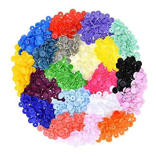"""300 Complete Sets KAM Snap Kits Plastic Resin Snap Fastener Buttons KAM T5 Size 20 (1/2"""") Assorted Rainbow Colors"""