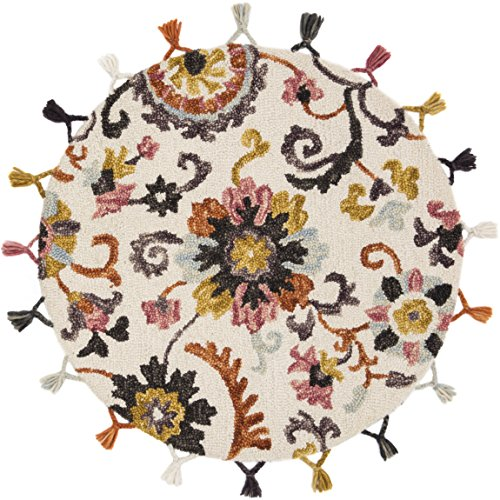 Loloi Remy Collection Round Accent Wool Area Rug, 3'x3', Ivory/Berry