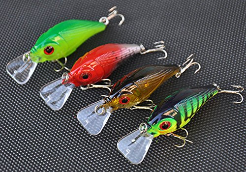 docooler 4Pcs 77mm/10g Crank Fishing Lure Hard Bait with Hooks Metal Ball Tackle
