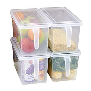MineDecor Plastic Storage Containers Square Food Storage Organizer with Lids for Refrigerator Fridge Cabinet Desk (Set of 4 Pack)