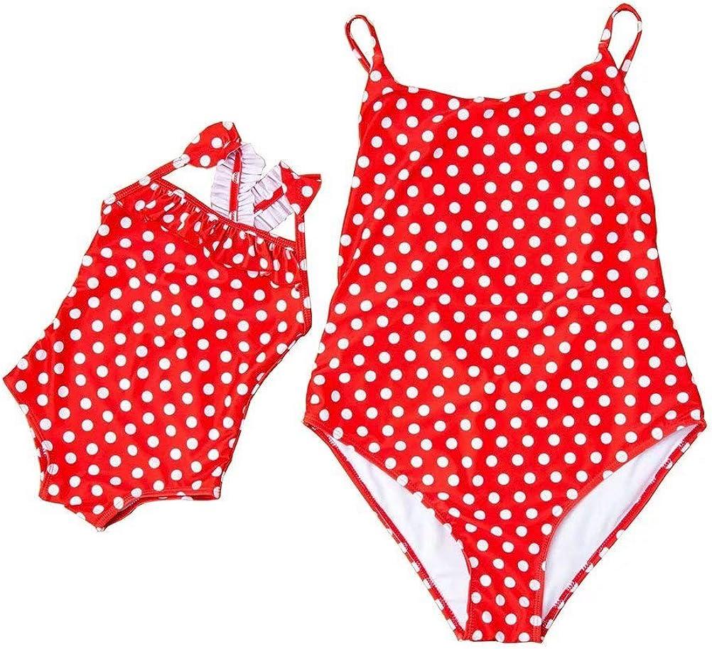 Family Matching Swimsuit Mom and Daughter One Piece Swimwear Bodysuit Off Shoulder Ruffle Bikini Bathing Suit