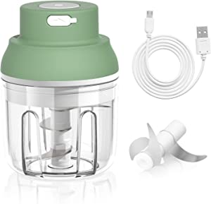Electric Mini Garlic Chopper, Mini Chopper Food Processor for Chop Onion Garlic Vegetable Pepper Meat Salad and Baby Food, 250ML Portable&Wireless Garlic Chopper
