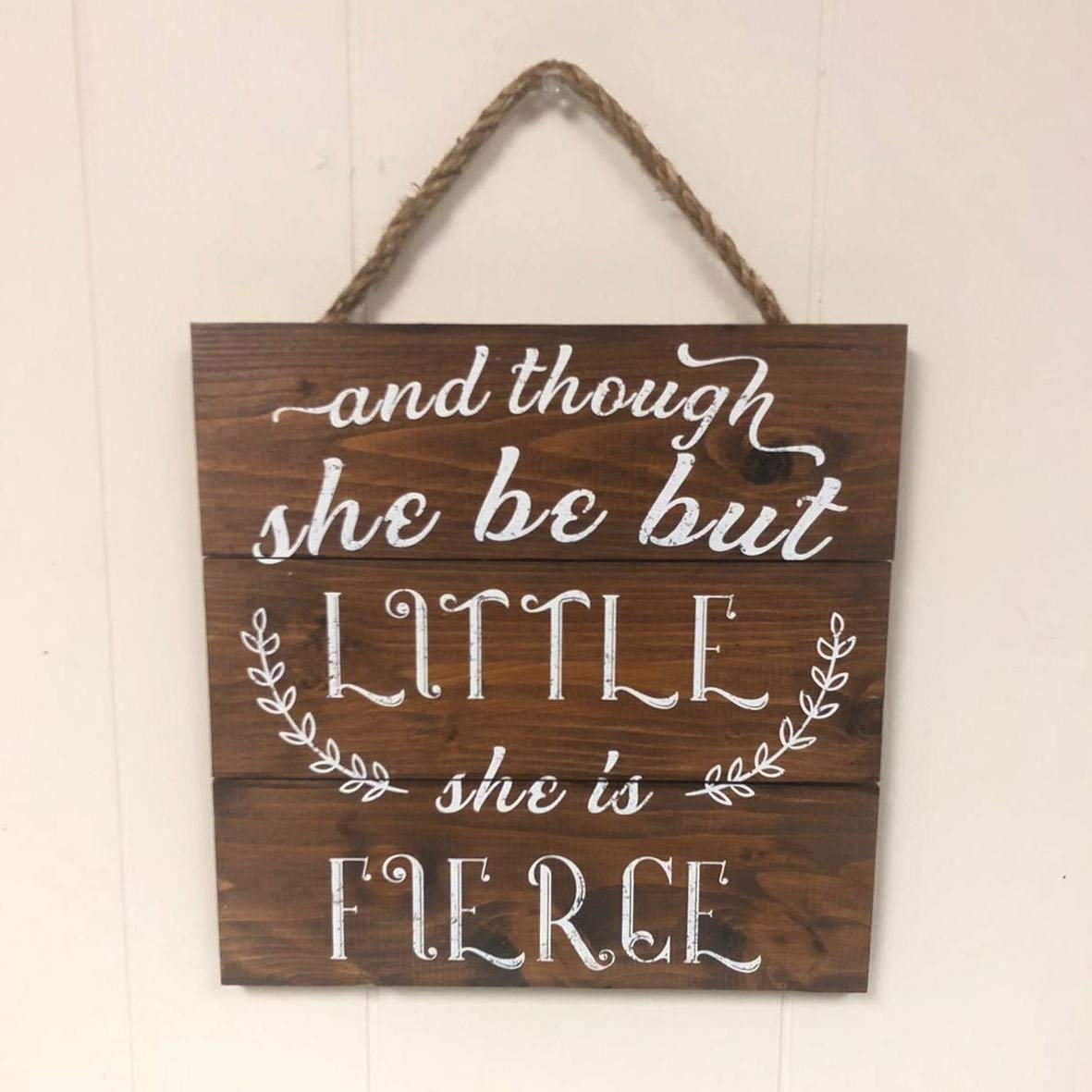 Artblox Rustic Nursery Room Sign And Though She Be but Little She is Fierce Quotes, Hearts & Flowers Ornaments Artwork, Barn Wood Pallet Farmhouse Wooden Plaque Art Print, 10.5x10.5 - White