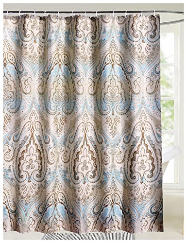 LanMeng Extra Long Fabric Shower Curtain, Classic Paisley Design, Mildew Resistant Waterproof Antibacterial, Multicolor Beige Brown Soft Blue (72-by-78 inches, 1) (Fabric Shower Curtains Extra Long)