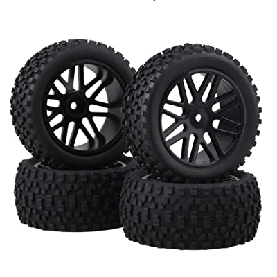 BQLZR Front and Rear Mesh Shape Wheel Rim Rubber Tires for RC 1:10 Off-Road Car Pack of 4: Toys & Games