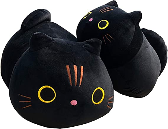12 inch Black Spot Cute Plushie Stuffed Animal Cat for Decorate Gifts for Friend and Family Black Cat Plush Pillow Kawaii Plushies Toy Pillows Doll Cat