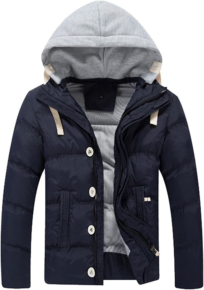 Tonwhar Mens Winter Outwear Coat with Removable Hat Tag size XXXL, dark blue