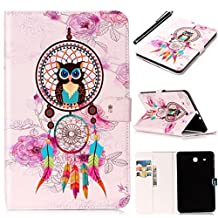 Galaxy Tab E 9.6 Tablet Case, Fashionable Cute Cartoon Pattern Folio Card Slots Kickstand Multifunction Holster Tablet Case Cover for Samsung Galaxy Tab E 9.6 inch SM-T560/T561 - Romantronic + Touch Pen, Y05