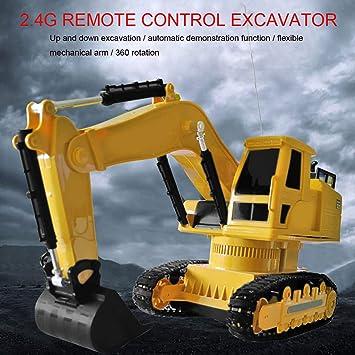 Lukame✯ Nueva Excavadora Para Construcción de Camiones de Juguete Rotación de 360 ° Modelo de Excavadora 1:18(Amarillo): Amazon.es: Bricolaje y herramientas