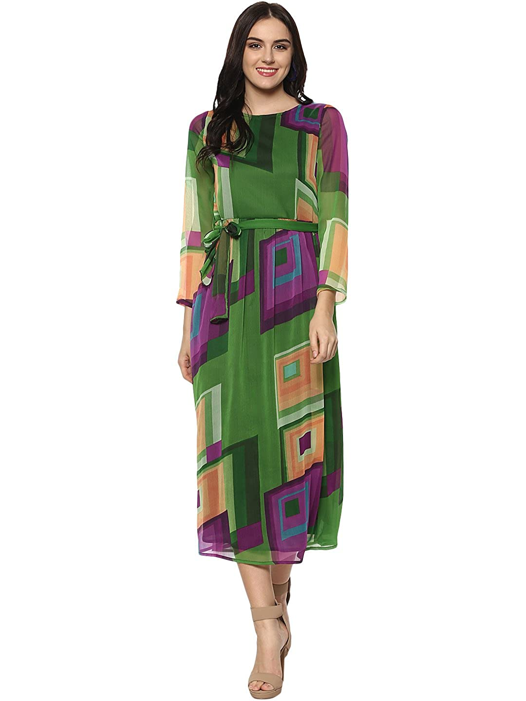 780cf6f4dae62 StyleStone (3276GrnPrplSq Women's Green and Purple Maxi Dress: Amazon.in:  Clothing & Accessories