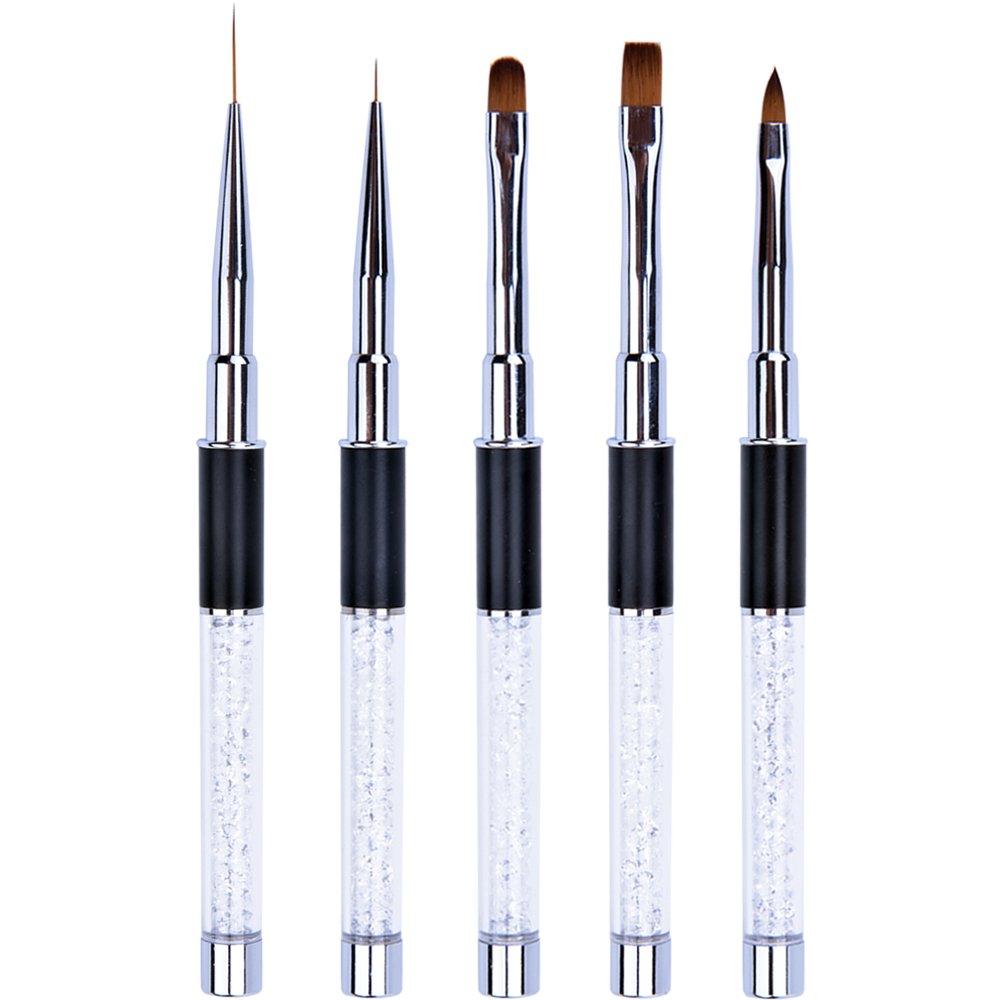 Ycyan 5Pcs UV Gel Nail Brush Set Rhinestone Handle Brushes Nails Art Design Tools Kit by Ycyan