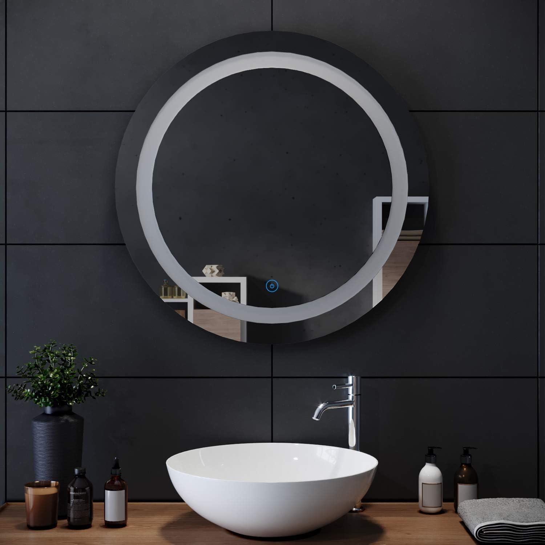 SIRHONA Miroir Rond Salle de Bain Tactile 20x20cm Lumineuse LED Lumineuse  Miroir Miroir de Maquillage avec capteur de contrôle Tactile, antipoussière