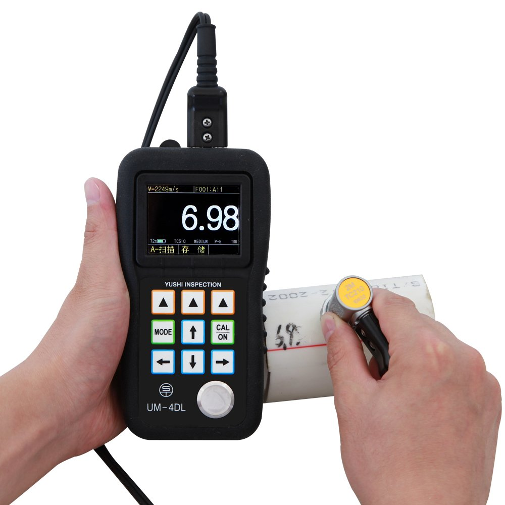 YUSHI UM-4DL Handheld Portable Ultrasonic Thickness Gauge Tester Meter 0.025 to 20 w//TC510 Probe Through Paint /& Coatings /& Data Logger,Interchangeable Probe//Transducer Option Available