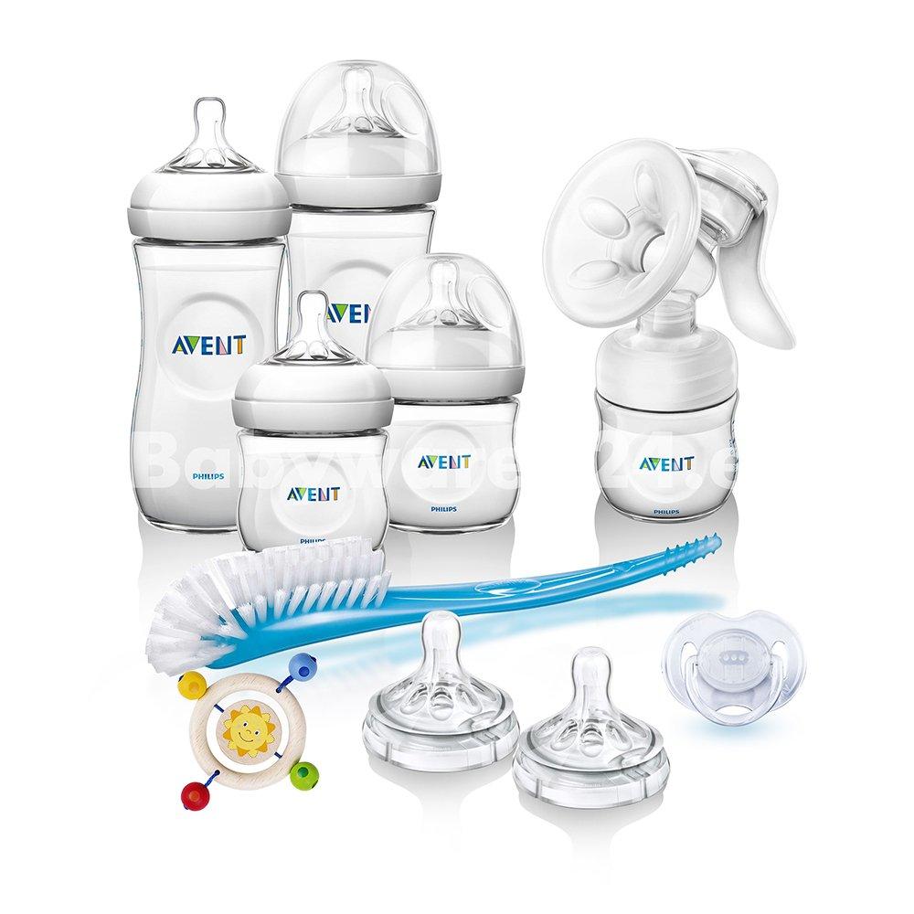Philips AVENT Vorteilspack II Naturnah Neugeborenen-Set Anti-Kolik Starter Set inkl. Hand-Milchpumpe
