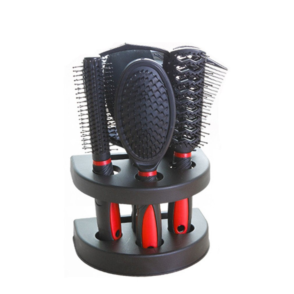 REBUNE 6 Pcs/set Travel Combs Tangle Hair Brush Styling Tools Professional Salon Hair Comb Set Detangling Massage Hair Combs +Mirror (Red)