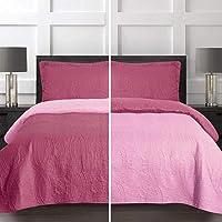 3 Piece Soft Reversible Quilt Coverlet Set - Microfiber Lightweight Bedspread