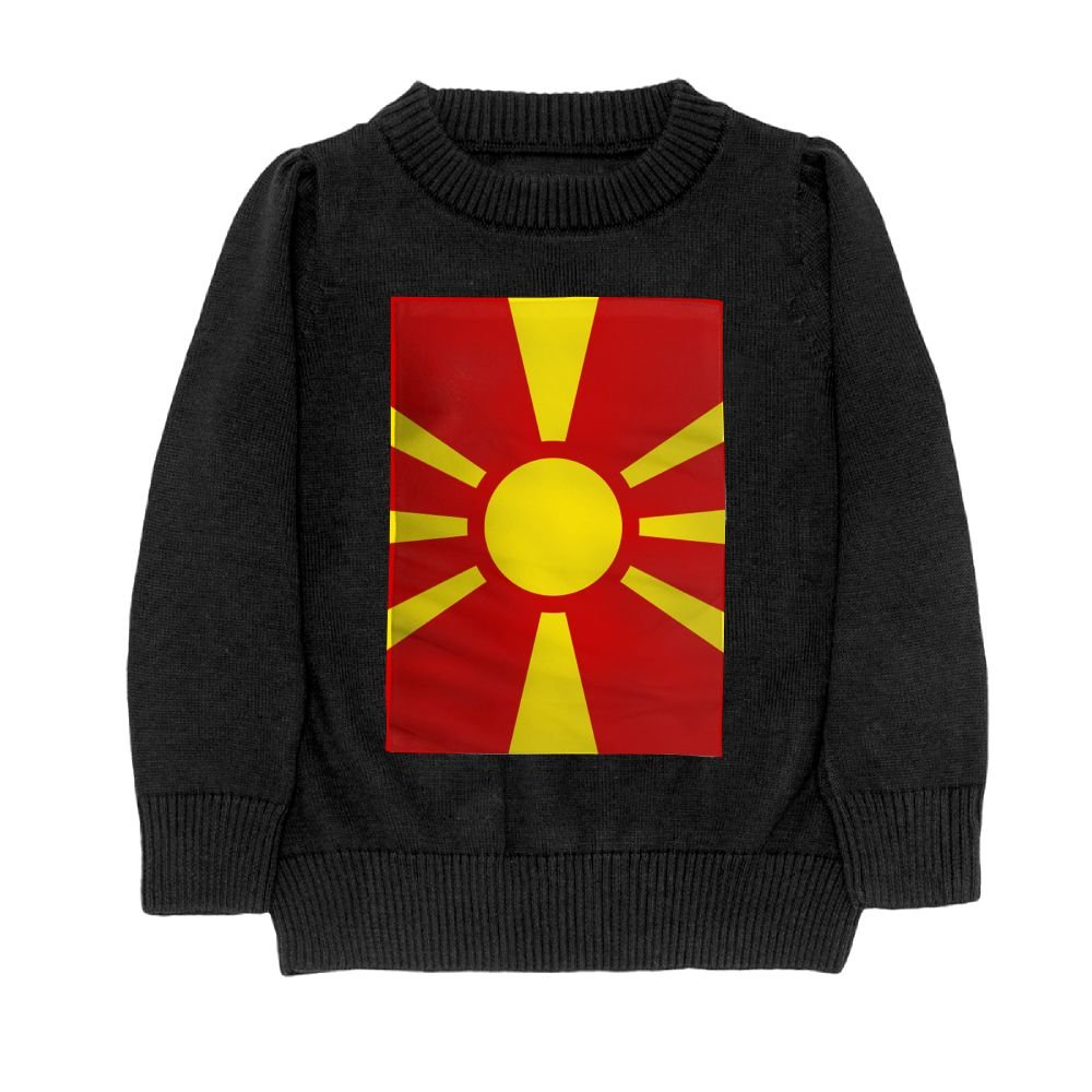 DTMN7 Flag Of Macedonia Teens Sweater Long Sleeves Crew-Neck Youth Athletic Casual Tee Junior Boys