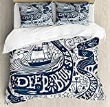 Nautical Decor Queen Size Duvet Cover Set by Ambesonne, Classic Art with Ship Whale Lettering 'Deep Blue Sea Never Stop Exploring', Decorative 3 Piece Bedding Set with 2 Pillow Shams