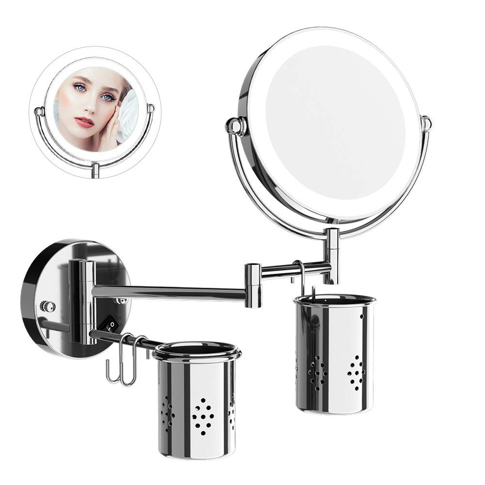 ElectriBrite Makeup Mirror with Lights and Magnification Wall Mounted Bathroom Shaving Mirror 7X Magnifying 8-Inch Double-Sided 360 Swivel Extendable Lighted Mirrors
