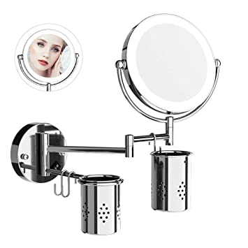 Charmant Amazon.com : ElectriBrite Lighted Makeup Mirror With Magnification Wall  Mounted 7X Magnifying Mirror With Lights Flexible Bathroom Mirrors For Wall  8 Inch ...