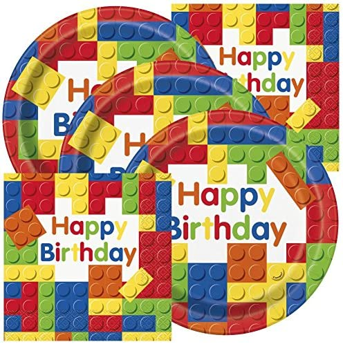 Colorful Building Blocks Birthday Napkins