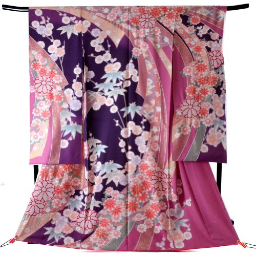 Women's Traditional Japanese Silk Furisode Kimono One Size ...