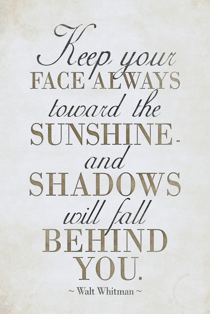 Walt Whitman Keep Your Face Always Toward The Sunshine II White Framed Poster 14x20 inch Poster Foundry 180679