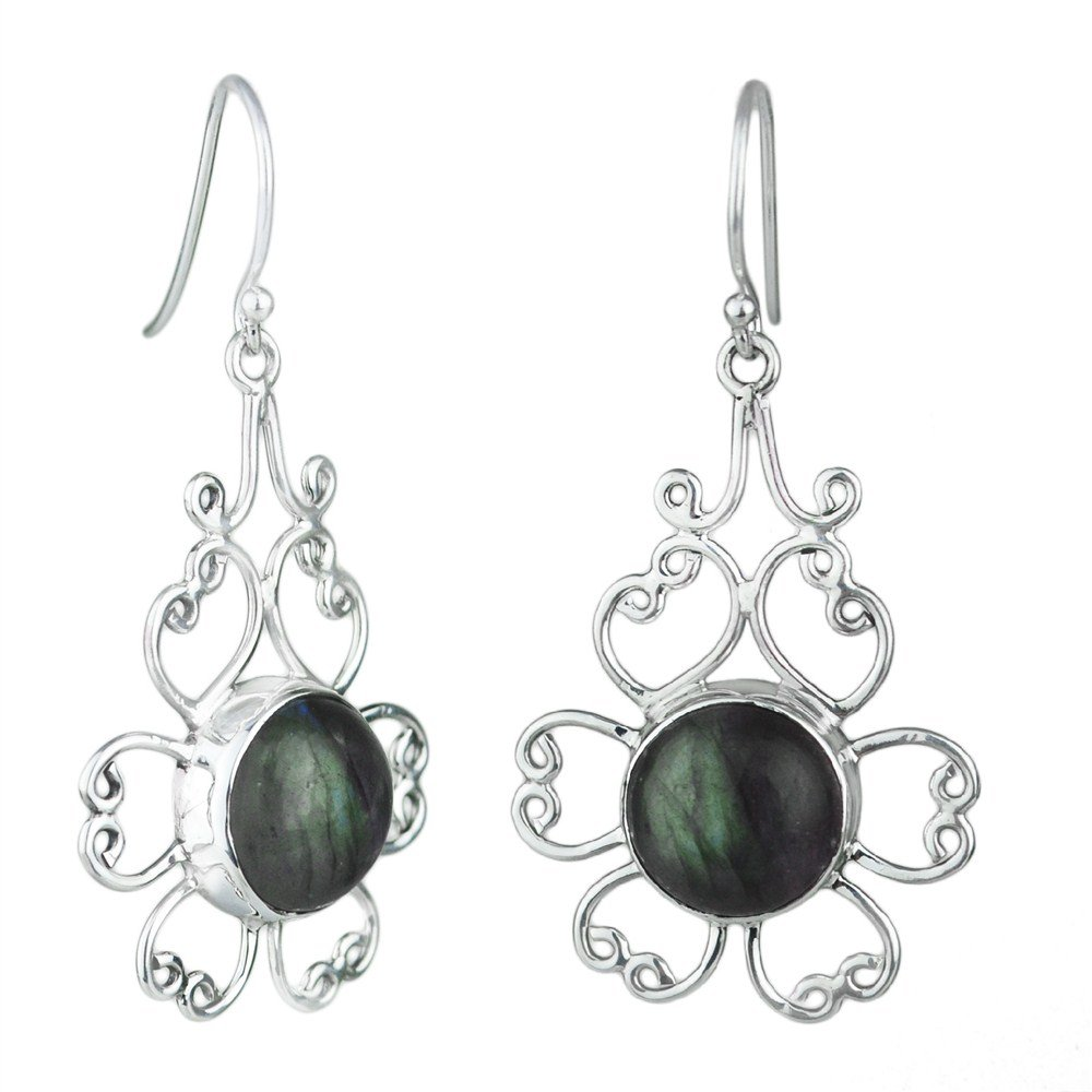 925 Sterling Silver natural gemstone fire labradorite Earrings Jewelry 5.66 g c