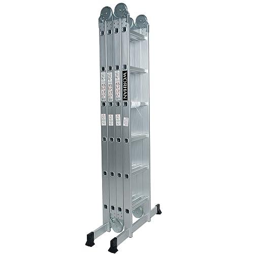 WORHAN® 6.7m Échelle Aluminium Multifonction Modèle GROSSE CHARNIÈRE Polyvalente Escabeau Échafaudage Multi-usage ALU Modulable Pliable KS6.7