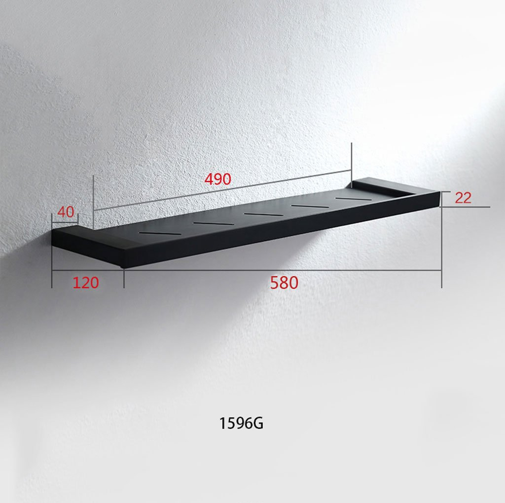 Mensola del bagno HL Mensola da Cucina per Bagno 304 Parete sospesa in Acciaio Inox Doccia Toilette Nera 120 580Mm