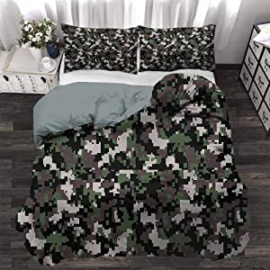 Bedding Duvet Cover Set Camo Ultra Soft and Comfortable Room Decor Pixelated Digital Abstract for Bedroom Comforter Cover Set Decorative 3 Piece Bedding Set with 2 Pillow Shams, Twin Size