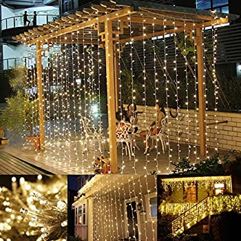 Amazon addlon string lights curtain 300 led icicle wall lights le led window curtain string light 306 leds icicle light string 98ft x 98ft 8 modes setting warm white fairy light string for indoor outdoor wall aloadofball Choice Image