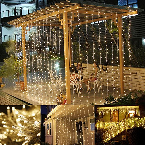 Pub One Light - LE LED Window Curtain String Light, 306 LEDs Icicle Light String, 9.8ft x 9.8ft, 8 Modes Setting, Warm White Fairy Light String for Indoor Outdoor Wall Decoration Wedding Party Home Garden