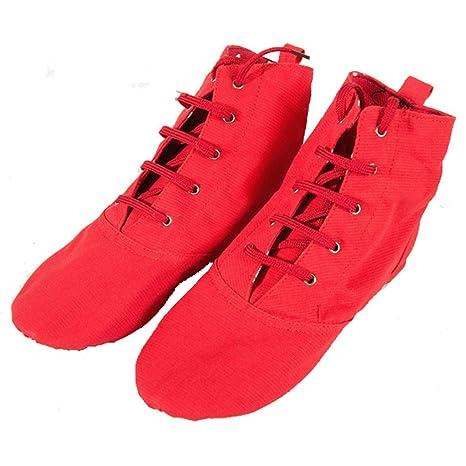 Wgwioo Moderne Lace-Up Bühne Ballett-Tanz-Schuhe Stiefel Weiche Sohle Für Männer Frauen Kleinkind Schnürer Mädchen Leinwand Jazz Dance Boots Elastic , Red , 38