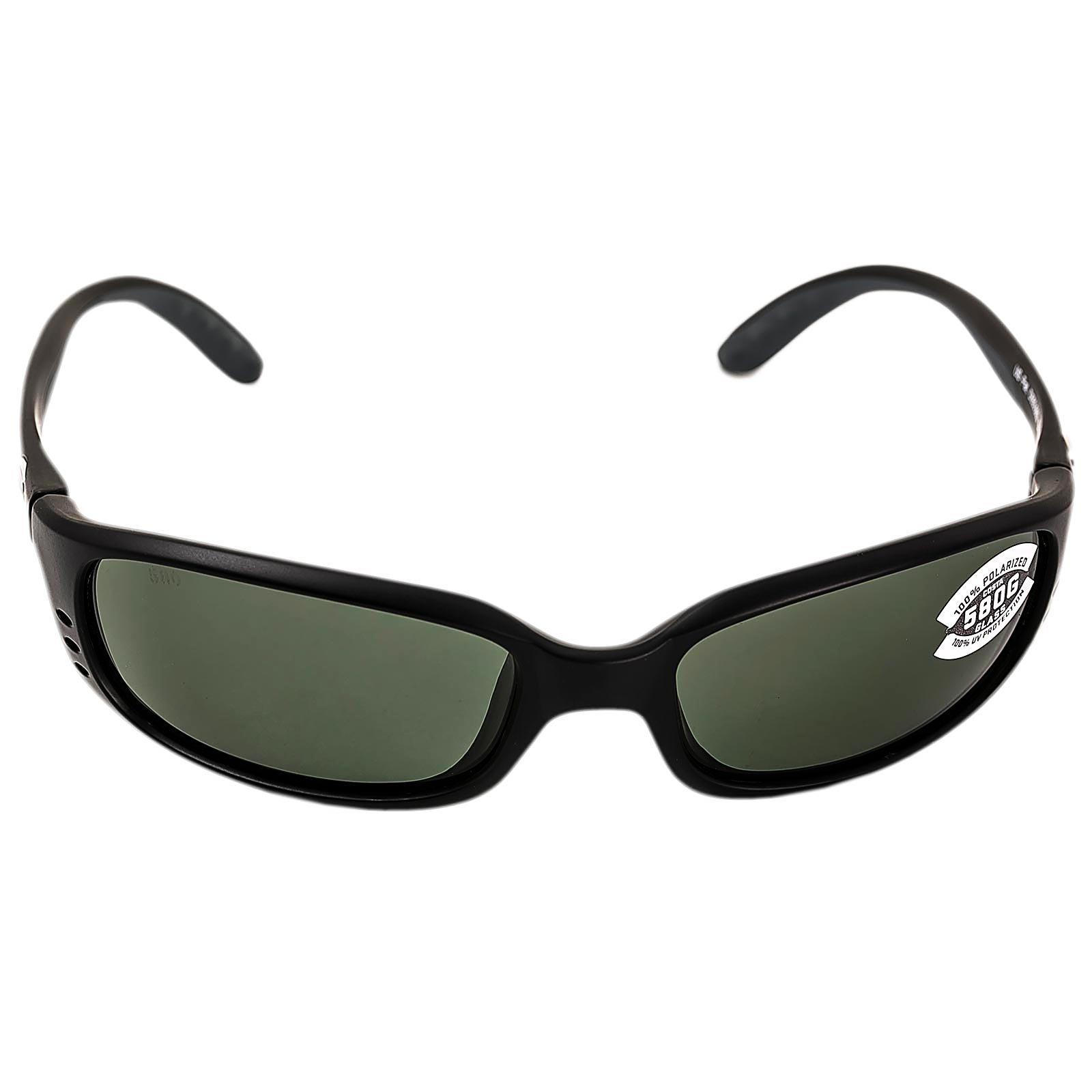 Costa Brine Polarized Sunglasses - Costa 580 Glass Lens Matte Black/Gray, One Size