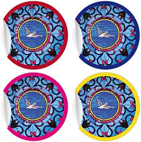 5 x 24 schöne Aufkleber | Sticker mit Friedenstaube/Heiligem Geist, MATTE Papieraufkleber für Geschenke, Etiketten für Tischdeko, Pakete, Briefe und mehr (ø 45mm; 6 x 4 Farben)