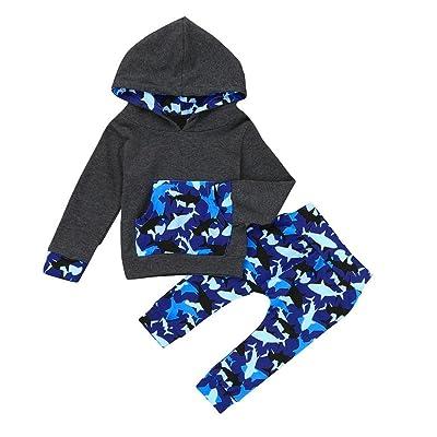 Chshe bébé garçon 2PC tenues pour nouveau-né Infant Toddler Mélange de coton à capuche Poche Dessin animé Baleine Patterns Top + Pantalon la Ensemble de vêtements sur mes