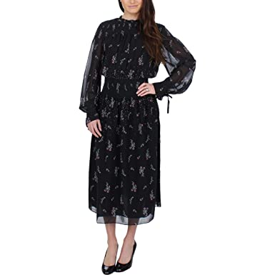 aaf6b6b4bc7b Juicy Couture Women s Falling Bouquets Smocked Midi Dress Pitch Black  Falling Bouquets Petite X-