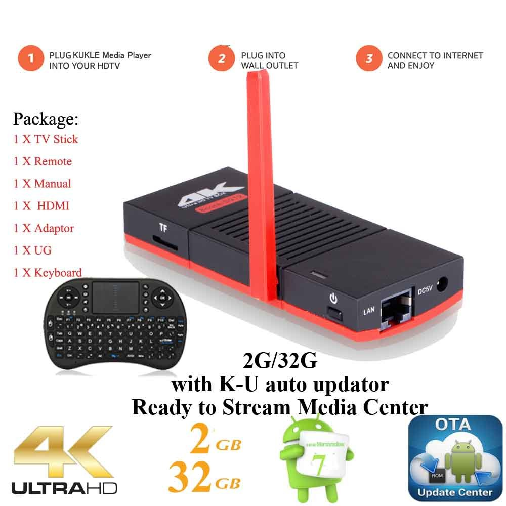 KUKELE Strongest Ready To Watch Android TV Stick A3 UHD Internet Media Center Player, Supports Amazon Prime Video, Wireless Keyboard