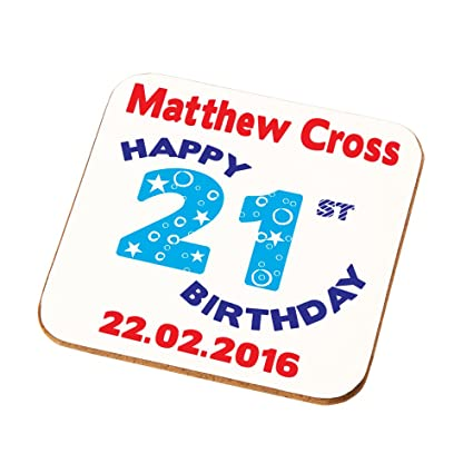 Sons Brothers Nephews Grandsons Personalised 21st Birthday Gift Mens Coaster Add Any
