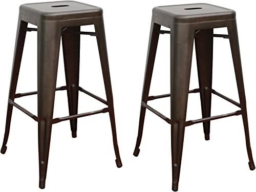 Adeco Tolix Style Metal Stackable High Counter Barstools - Matte Dark Bronze - Height 30 Inches - Set of 2