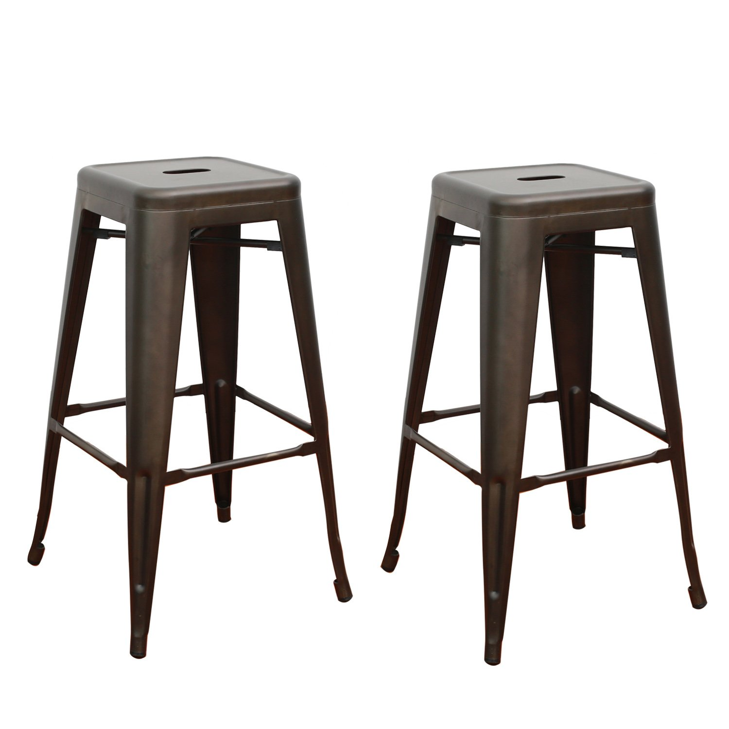 Adeco Tolix Style Metal Stackable High Counter Barstools – Matte Dark Bronze – Height 30 Inches – Set of 2