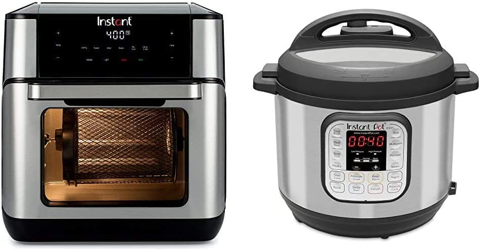 Instant Vortex Plus 7-in-1 Air Fryer, Toaster Oven, and Rotisserie Oven, 10 Quart, 7 Programs & Duo 7-in-1 Electric Pressure Cooker, Slow Cooker, 6 Quart, 14 One-Touch Programs
