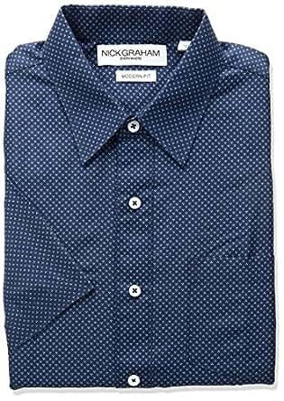 "Nick Graham Mens GSP5178PS Dot Triangle Print Polyester Short Sleeve Dress Shirt Dress Shirt - Blue - 14.5""-15"" Neck"