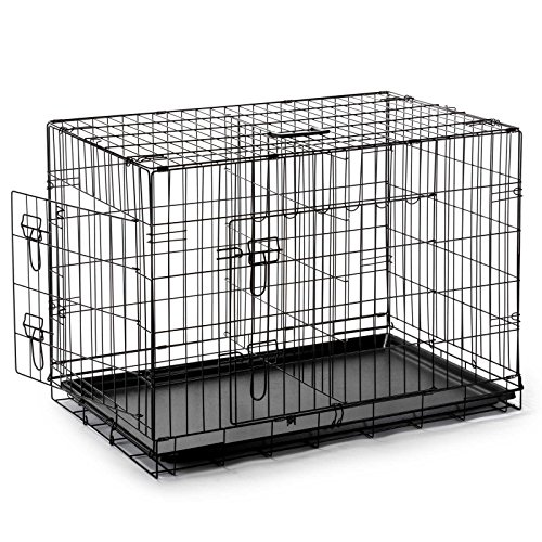 SmithBuilt Double Door Folding Metal Dog Crate, 48 Inch Long with