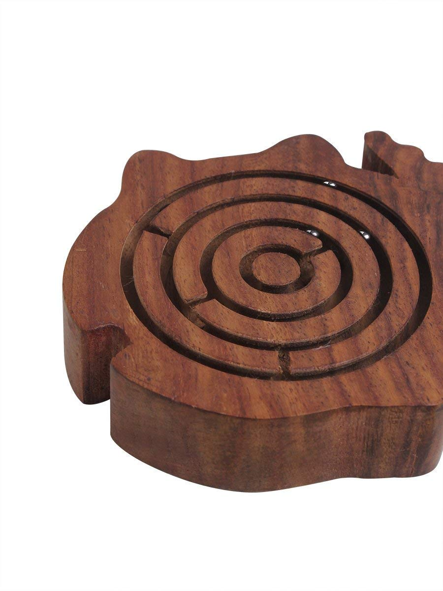 Wooden Labyrinth Maze Puzzle Board Toys and Games Easy to Learn and Play with 3 Metal Balls Rosewood for Kids Adults Fish
