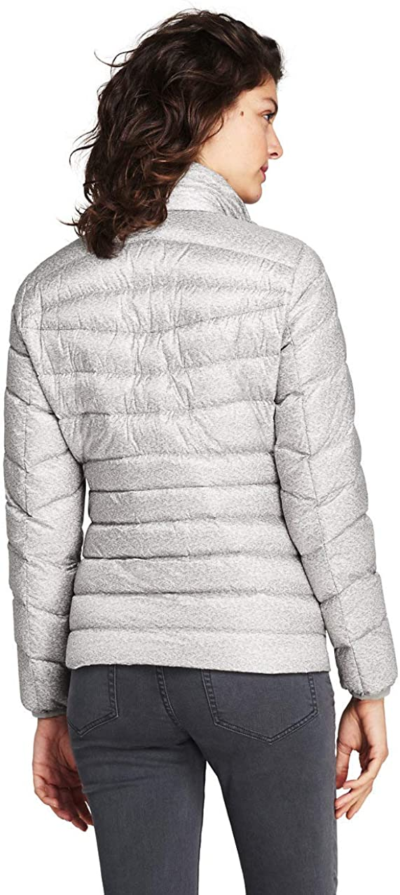 Lands End Womens Print Ultralight Down Puffer Jacket Packable L Warm Gray Heather