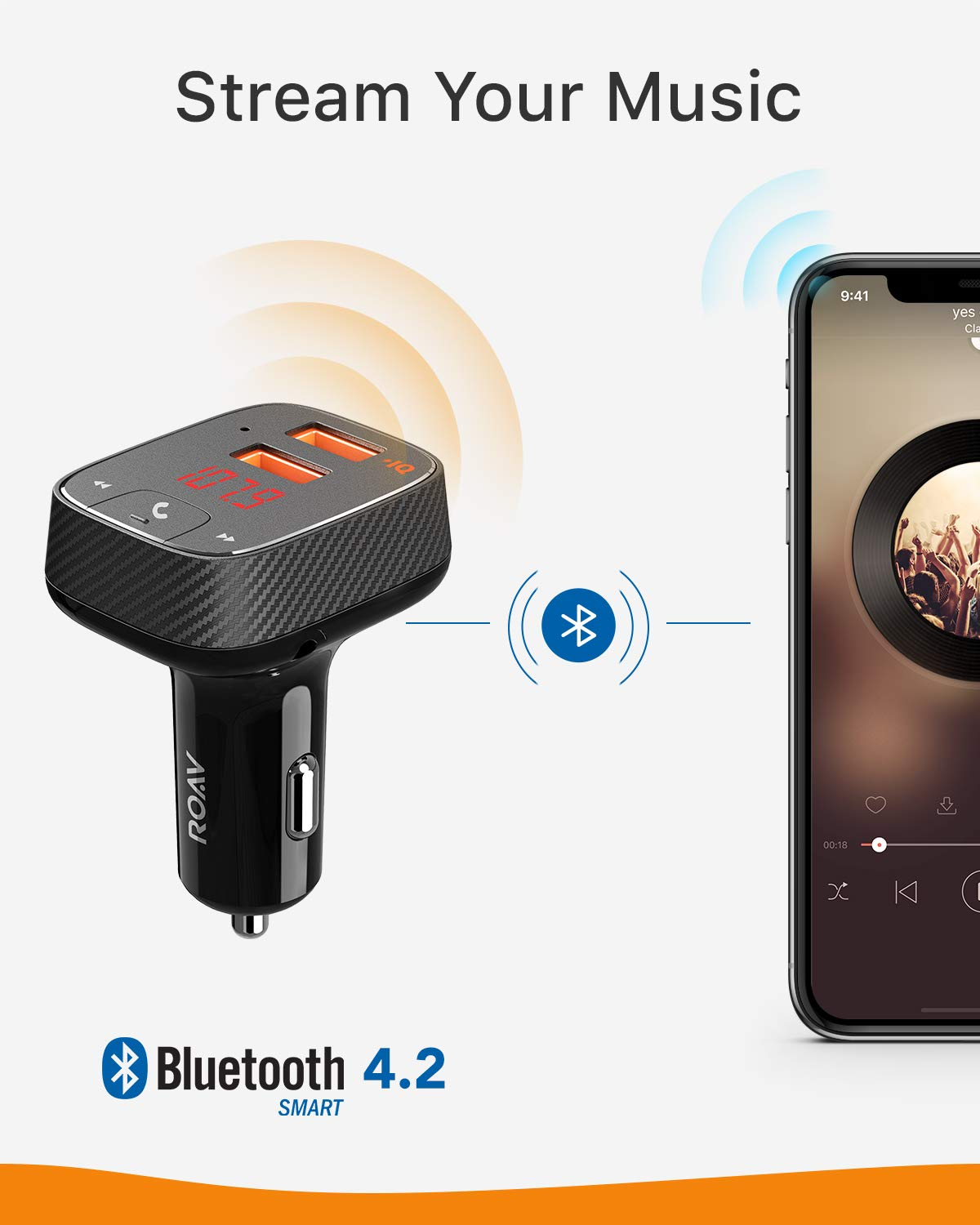 Roav SmartCharge F2, by Anker, FM Transmitter, Bluetooth Receiver, Car Charger with Bluetooth 4.2, Car Locator, App Support, 2 USB Ports, PowerIQ, AUX Output, and USB Drive to Play MP3 Files by ROAV (Image #4)
